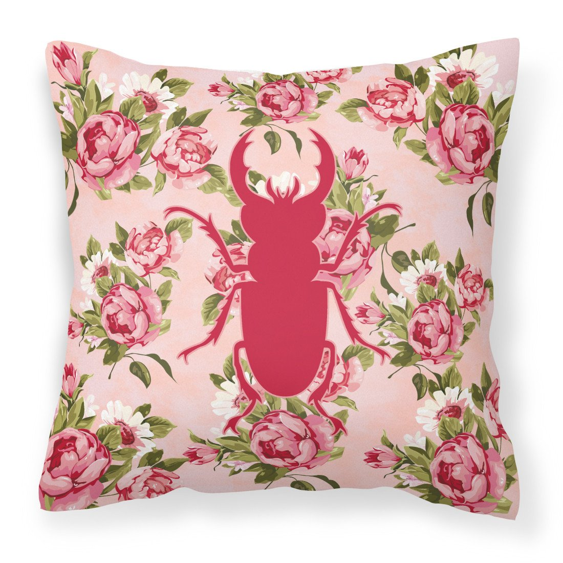 Beetle Shabby Chic Pink Roses  Fabric Decorative Pillow BB1063-RS-PK-PW1414 - the-store.com