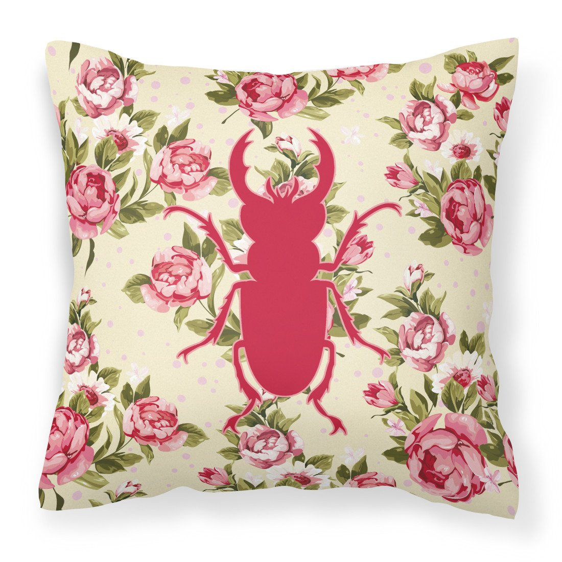 Beetle Shabby Chic Yellow Roses  Fabric Decorative Pillow BB1063-RS-YW-PW1414 - the-store.com