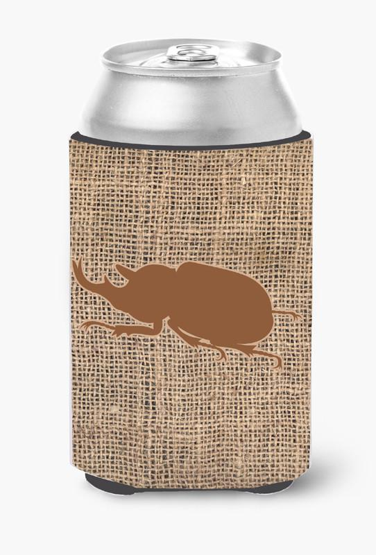 Beetle Burlap and Brown Can or Bottle Beverage Insulator Hugger by Caroline's Treasures