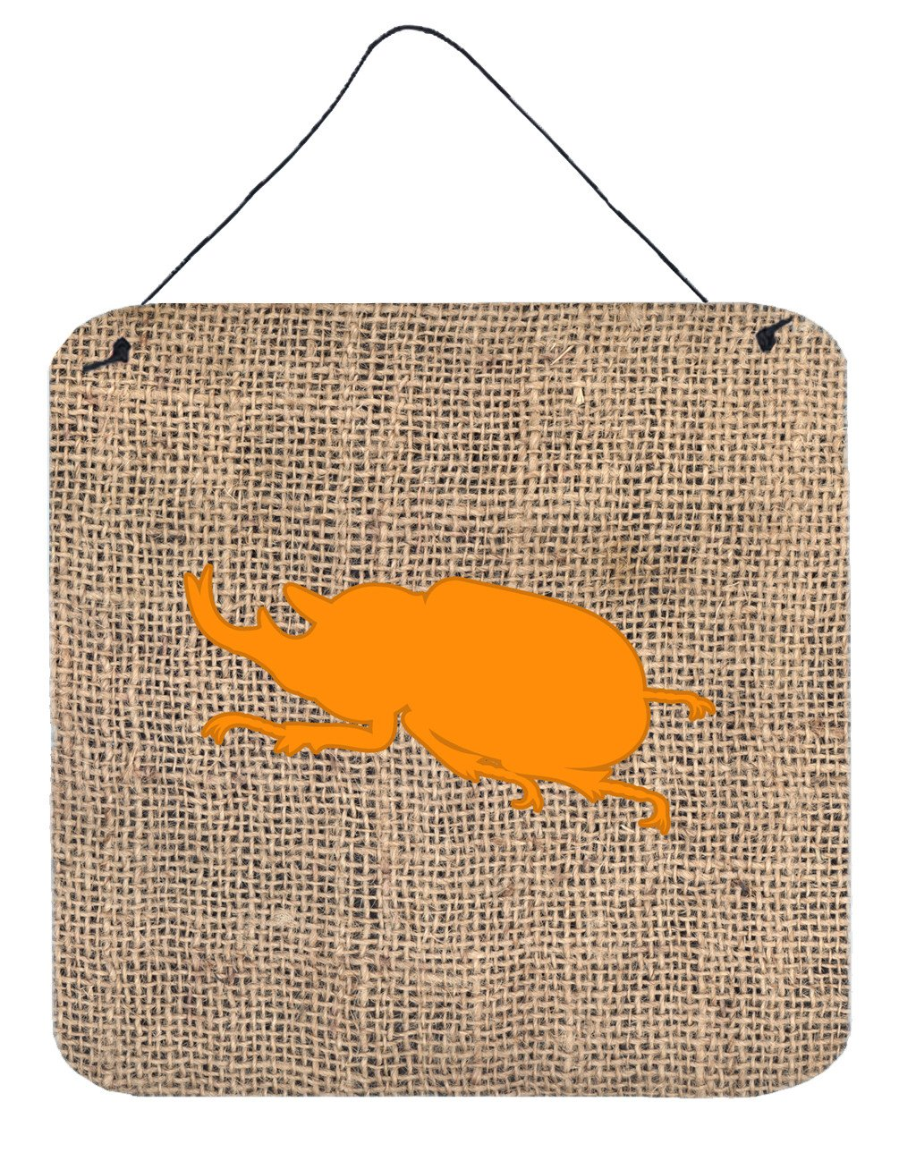 Beetle Burlap and Orange Aluminium Metal Wall or Door Hanging Prints BB1064 by Caroline's Treasures