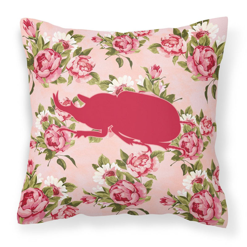 Buy this Beetle Shabby Chic Pink Roses  Fabric Decorative Pillow BB1064-RS-PK-PW1414