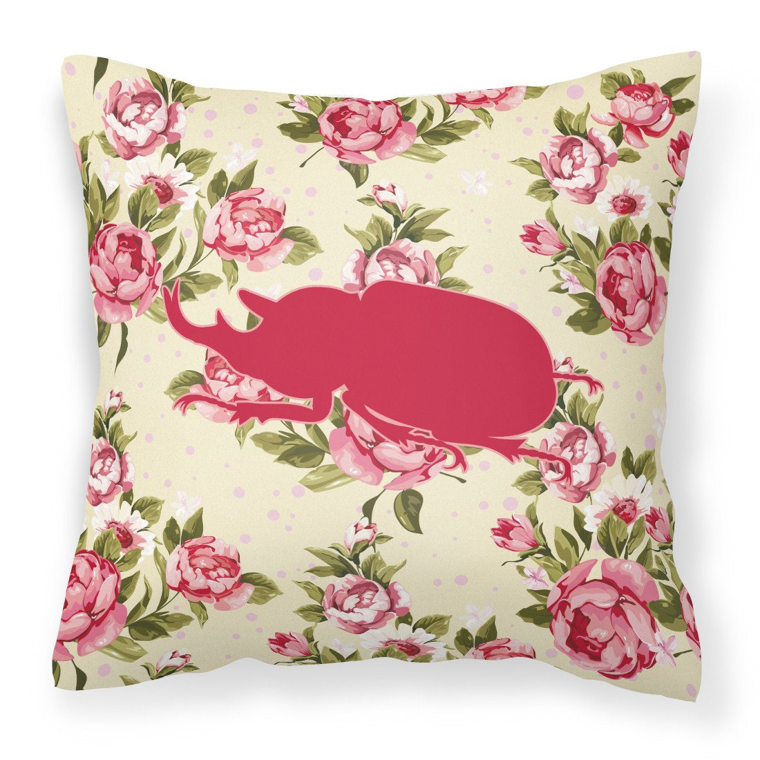 Buy this Beetle Shabby Chic Yellow Roses  Fabric Decorative Pillow BB1064-RS-YW-PW1414