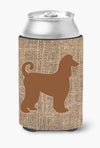 Afghan Hound Burlap and Brown Can or Bottle Beverage Insulator Hugger by Caroline's Treasures