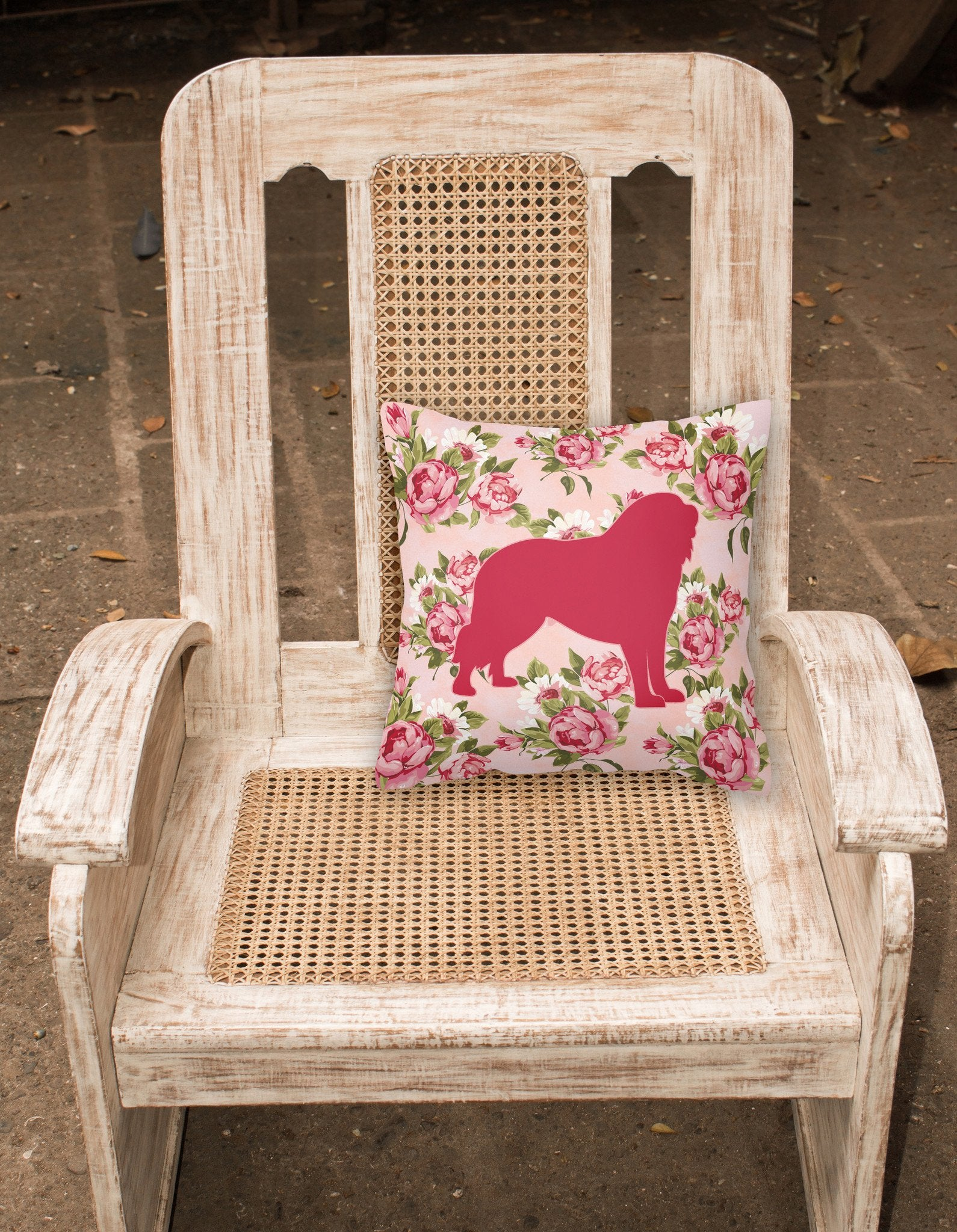 Buy this Tibetial Mastiff Shabby Chic Pink Roses  Fabric Decorative Pillow BB1077-RS-PK-PW1414