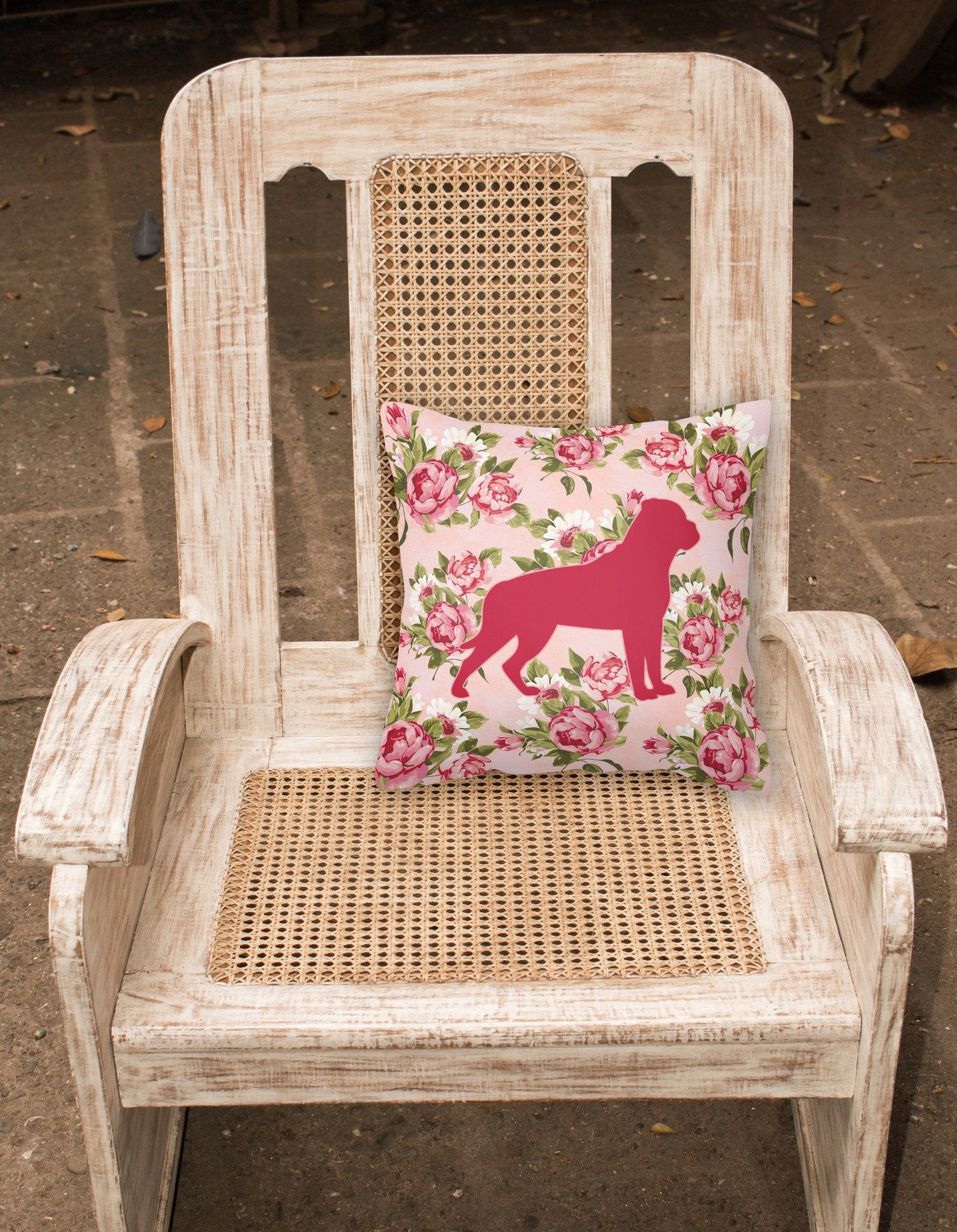 Rottweiler Shabby Chic Pink Roses  Fabric Decorative Pillow BB1083-RS-PK-PW1414 by Caroline's Treasures