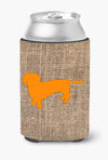 Buy this Dachshund Burlap and Orange Can or Bottle Beverage Insulator Hugger BB1088