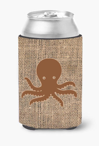 Buy this Octopus Burlap and Brown Can or Bottle Beverage Insulator Hugger