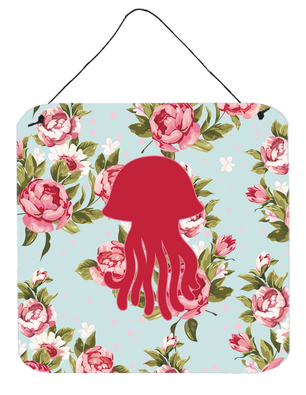Jellyfish Shabby Chic Blue Roses Wall or Door Hanging Prints BB1091 by Caroline's Treasures