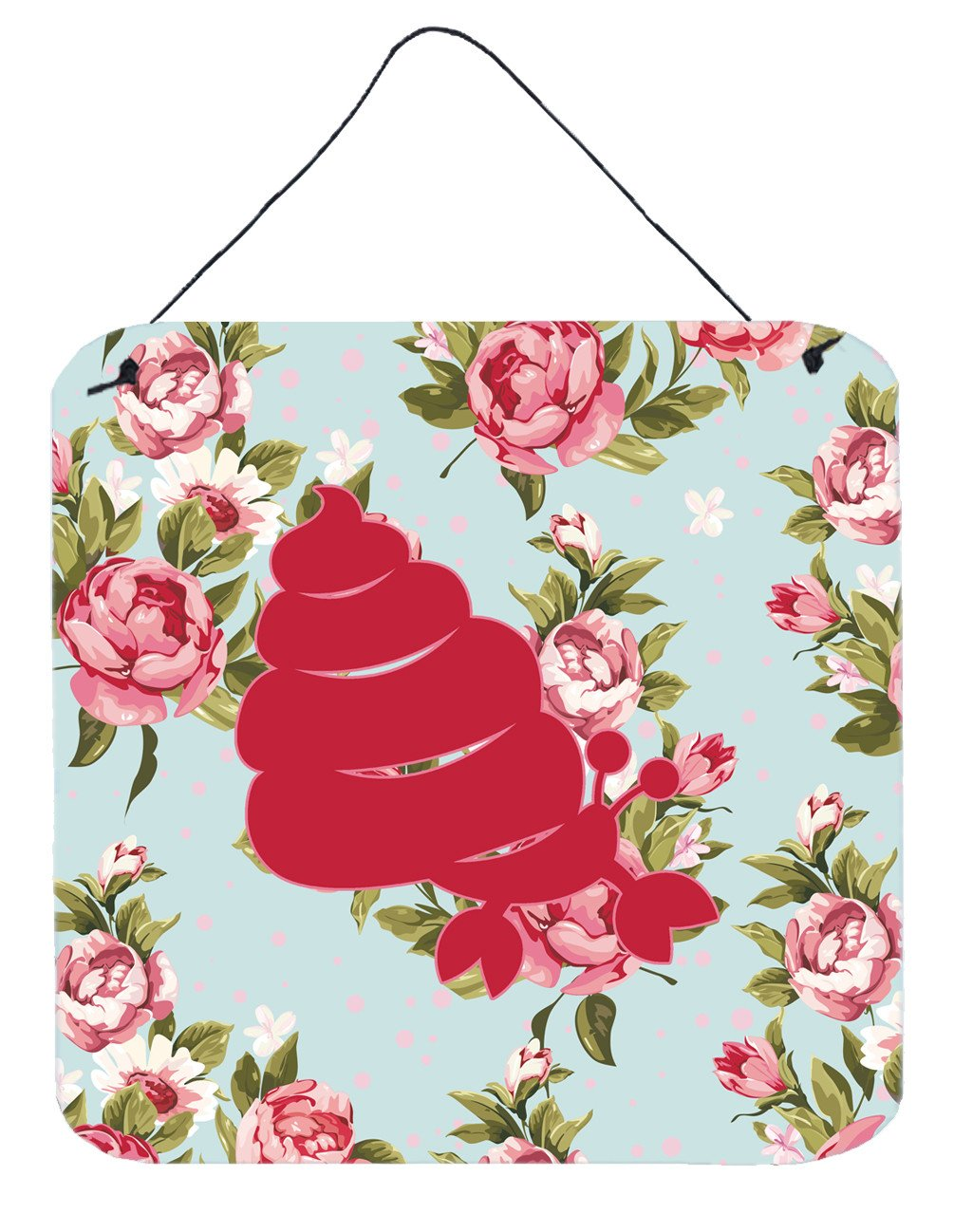 Buy this Hermit Crab Shabby Chic Blue Roses Wall or Door Hanging Prints BB1092