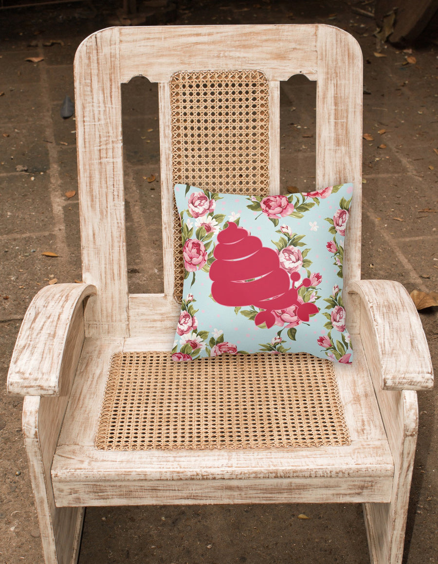 Buy this Hermit Crab Shabby Chic Blue Roses   Canvas Fabric Decorative Pillow BB1092