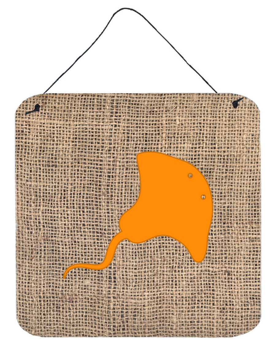 Buy this Stingray Burlap and Orange Aluminium Metal Wall or Door Hanging Prints BB1095