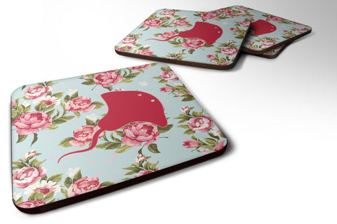 Buy this Set of 4 Stingray Shabby Chic Blue Roses Foam Coasters