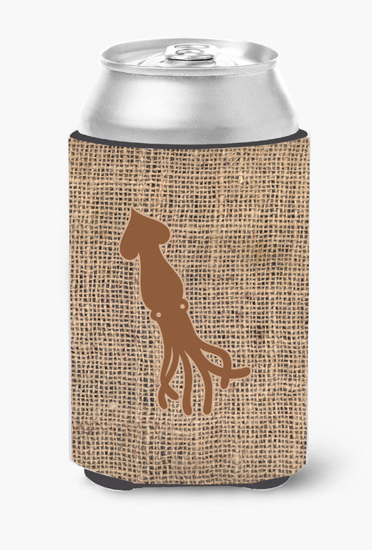 Buy this Squid Burlap and Brown Can or Bottle Beverage Insulator Hugger