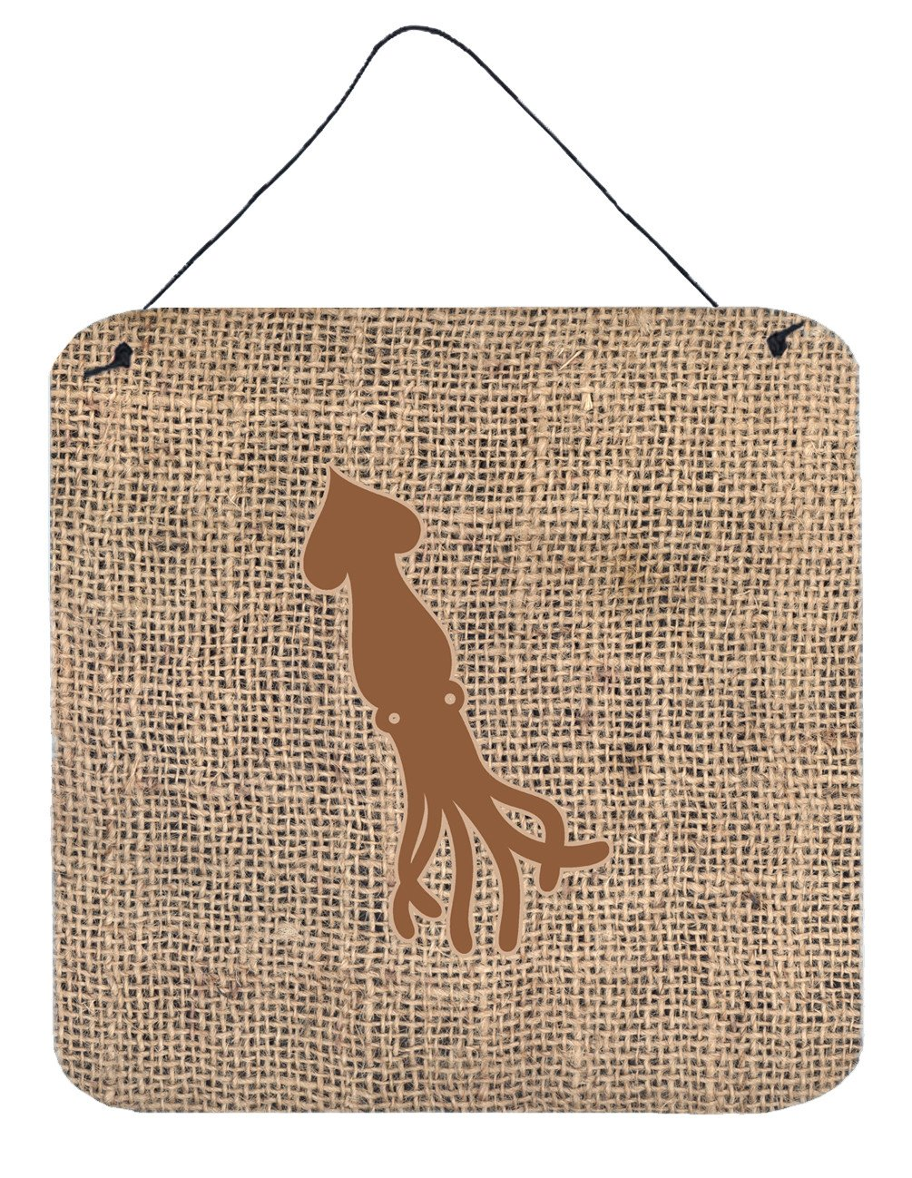 Buy this Squid Burlap and Brown Aluminium Metal Wall or Door Hanging Prints BB1096