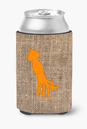 Buy this Squid Burlap and Orange Can or Bottle Beverage Insulator Hugger