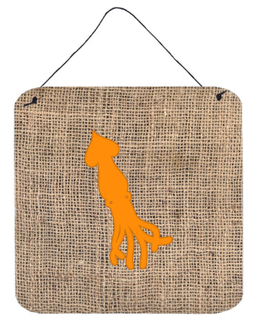 Buy this Squid Burlap and Orange Aluminium Metal Wall or Door Hanging Prints BB1096