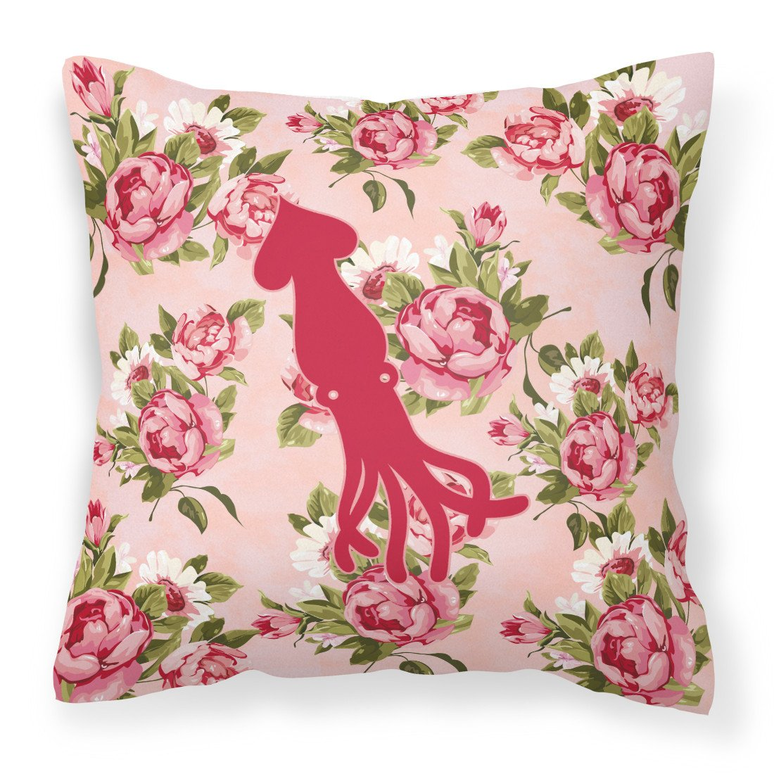 Buy this Squid Shabby Chic Pink Roses  Fabric Decorative Pillow BB1096-RS-PK-PW1414
