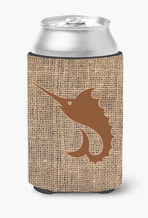 Buy this Fish - Sword Fish Burlap and Brown Can or Bottle Beverage Insulator Hugger BB1097