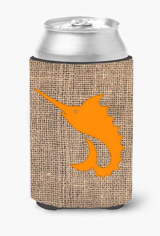 Buy this Fish - Sword Fish Burlap and Orange Can or Bottle Beverage Insulator Hugger BB1097