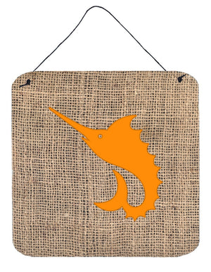 Buy this Fish - Sword Fish Burlap and Orange Wall or Door Hanging Prints BB1097
