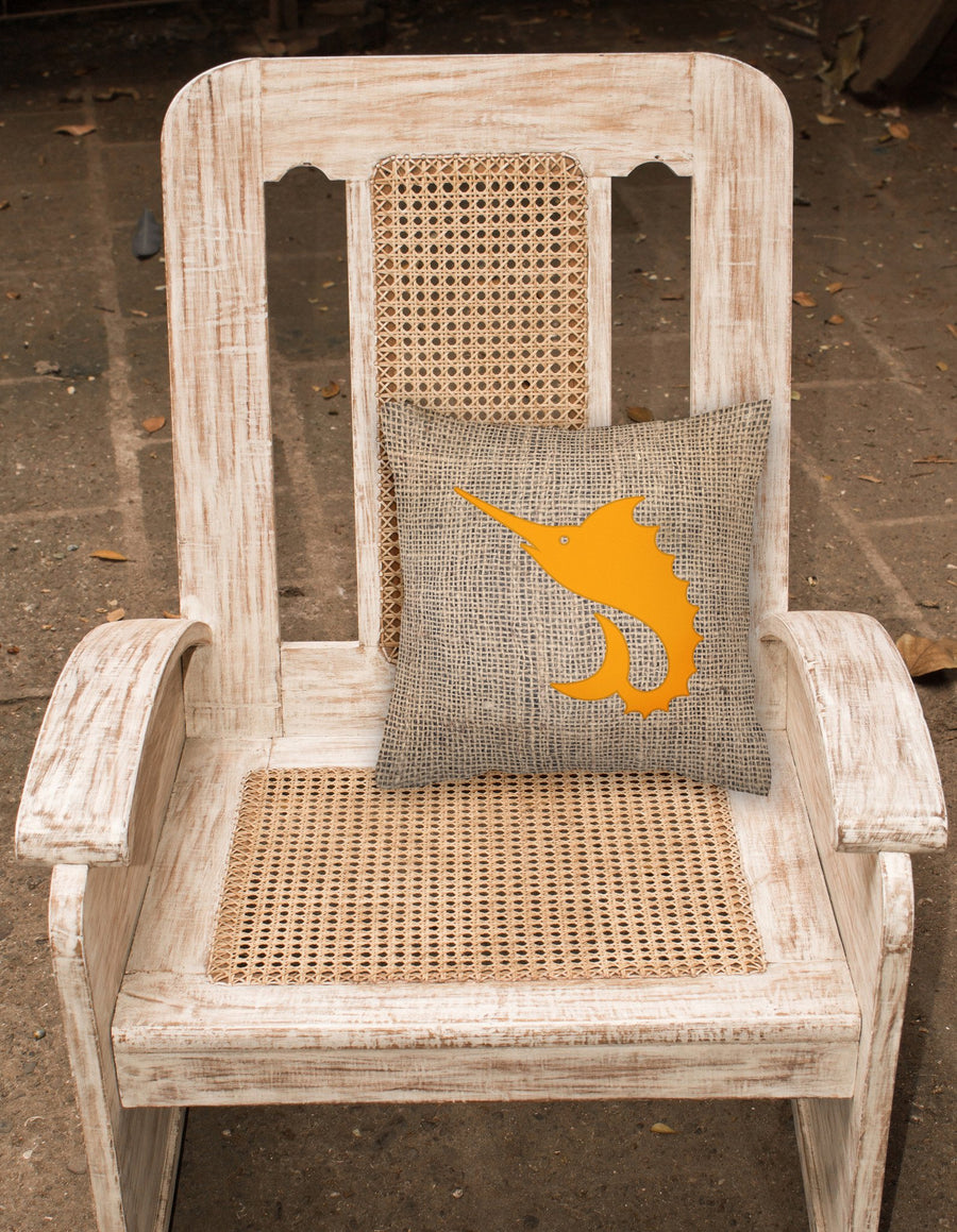 Buy this Fish - Sword Fish Burlap and Orange   Canvas Fabric Decorative Pillow BB1097