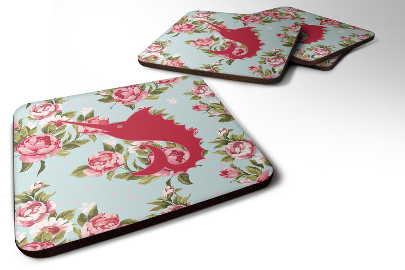 Buy this Set of 4 Fish - Sword Fish Shabby Chic Blue Roses Foam Coasters