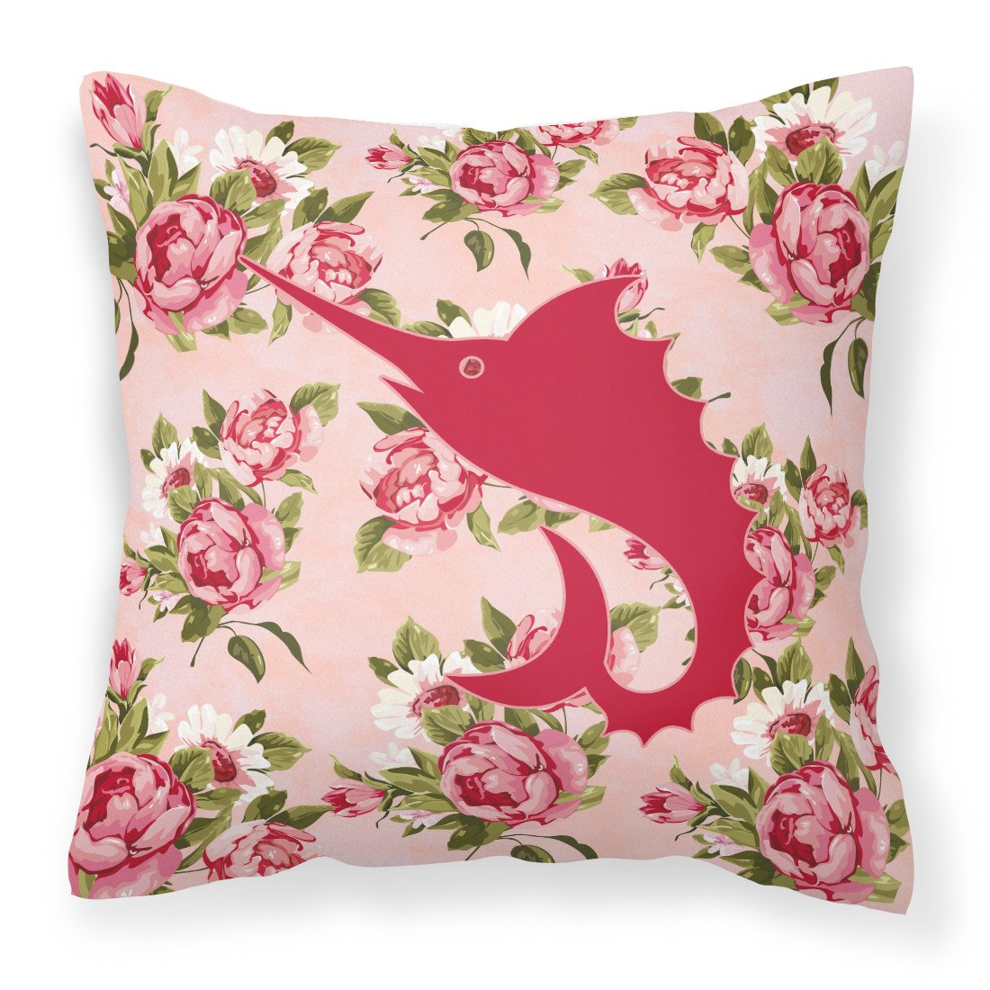 Buy this Fish - Sword Fish Shabby Chic Pink Roses  Fabric Decorative Pillow BB1097-RS-PK-PW1414