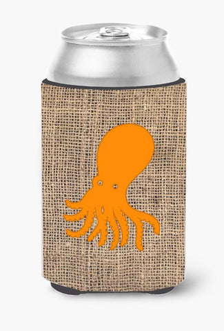 Buy this Octopus Burlap and Orange Can or Bottle Beverage Insulator Hugger