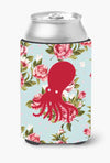 Octopus Shabby Chic Blue Roses Can or Bottle Beverage Insulator Hugger BB1098 by Caroline's Treasures