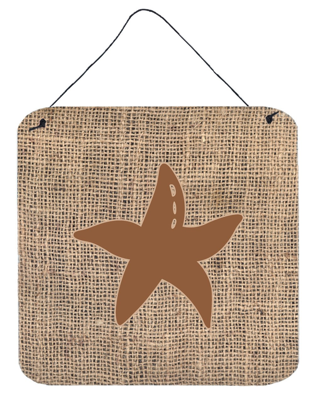 Starfish Burlap and Brown Aluminium Metal Wall or Door Hanging Prints BB1100 by Caroline's Treasures