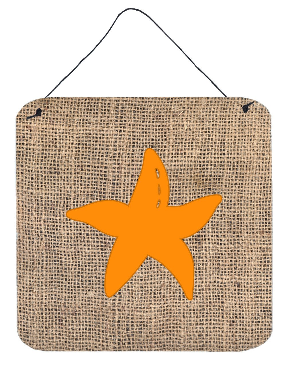 Starfish Burlap and Orange Aluminium Metal Wall or Door Hanging Prints BB1100 by Caroline's Treasures