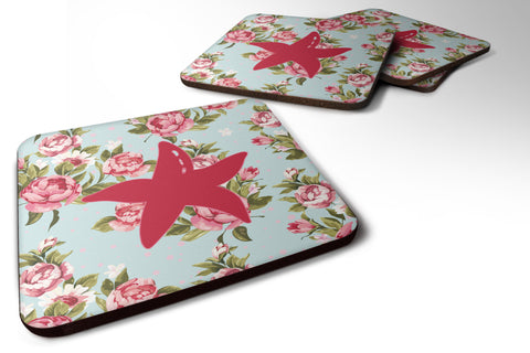 Buy this Set of 4 Starfish Shabby Chic Blue Roses Foam Coasters