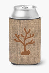 Coral Burlap and Brown Can or Bottle Beverage Insulator Hugger - the-store.com