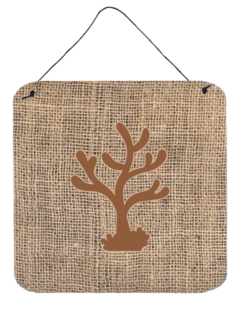 Coral Burlap and Brown Aluminium Metal Wall or Door Hanging Prints BB1101 - the-store.com