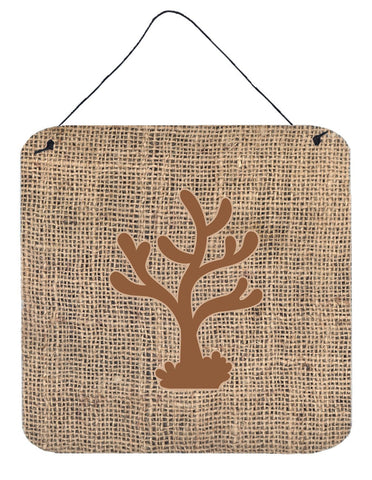 Buy this Coral Burlap and Brown Aluminium Metal Wall or Door Hanging Prints BB1101