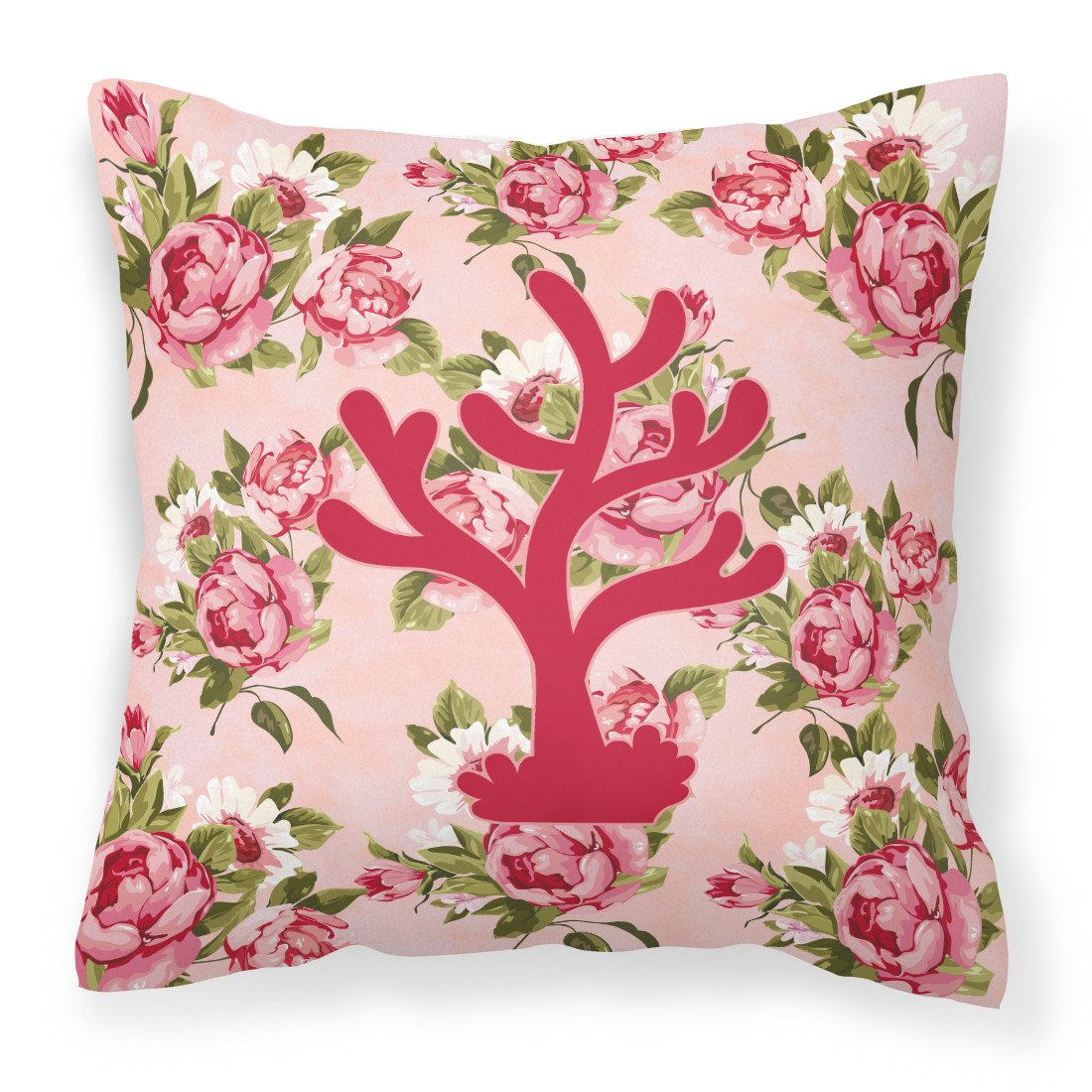Coral Shabby Chic Pink Roses  Fabric Decorative Pillow BB1101-RS-PK-PW1414 - the-store.com