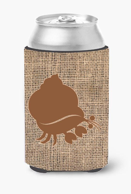 Hermit Crab Burlap and Brown Can or Bottle Beverage Insulator Hugger by Caroline's Treasures