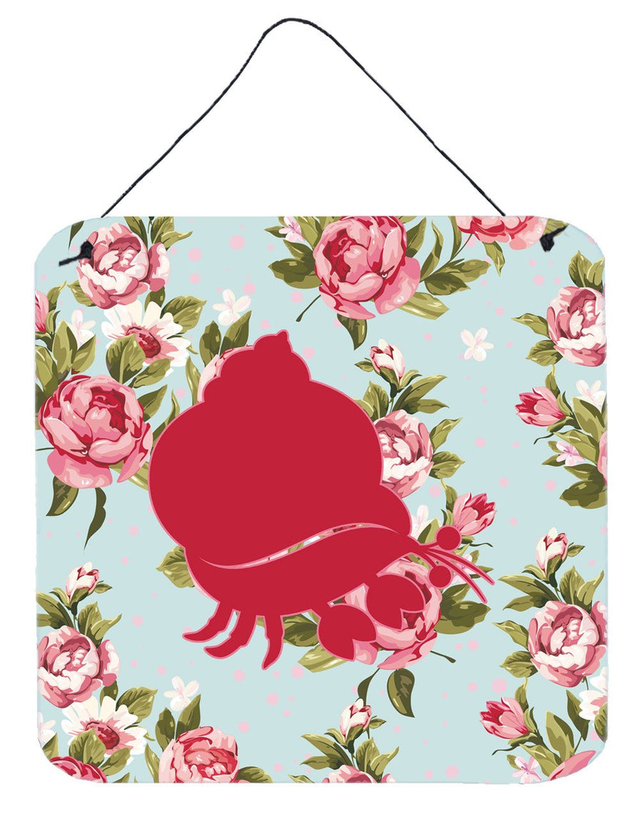 Buy this Hermit Crab Shabby Chic Blue Roses Wall or Door Hanging Prints BB1102