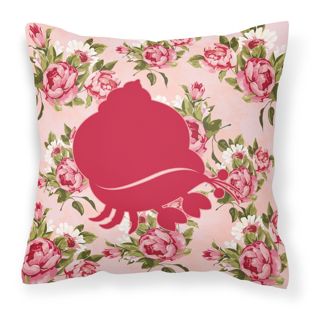 Hermit Crab Shabby Chic Pink Roses  Fabric Decorative Pillow BB1102-RS-PK-PW1414 by Caroline's Treasures