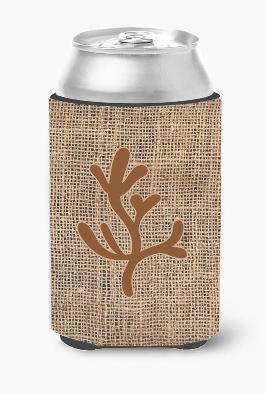 Coral Burlap and Brown Can or Bottle Beverage Insulator Hugger by Caroline's Treasures