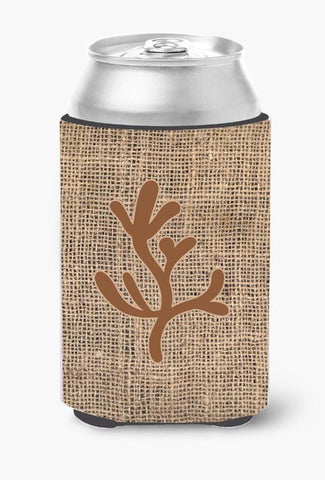 Buy this Coral Burlap and Brown Can or Bottle Beverage Insulator Hugger