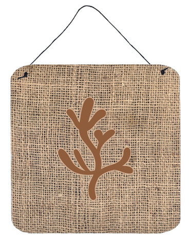 Buy this Coral Burlap and Brown Aluminium Metal Wall or Door Hanging Prints BB1103