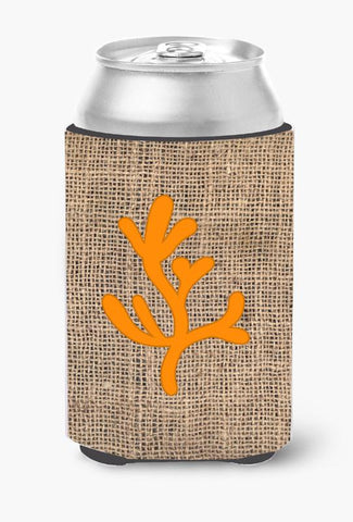 Buy this Coral Burlap and Orange Can or Bottle Beverage Insulator Hugger