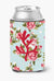 Coral Shabby Chic Blue Roses Can or Bottle Beverage Insulator Hugger BB1103 by Caroline's Treasures