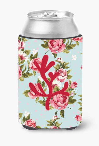 Buy this Coral Shabby Chic Blue Roses Can or Bottle Beverage Insulator Hugger BB1103