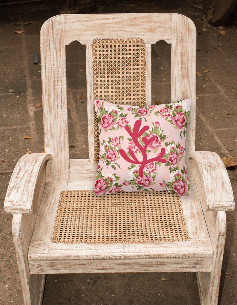 Coral Shabby Chic Pink Roses  Fabric Decorative Pillow BB1103-RS-PK-PW1414 - the-store.com