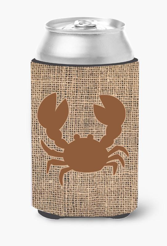Crab Burlap and Brown Can or Bottle Beverage Insulator Hugger by Caroline's Treasures