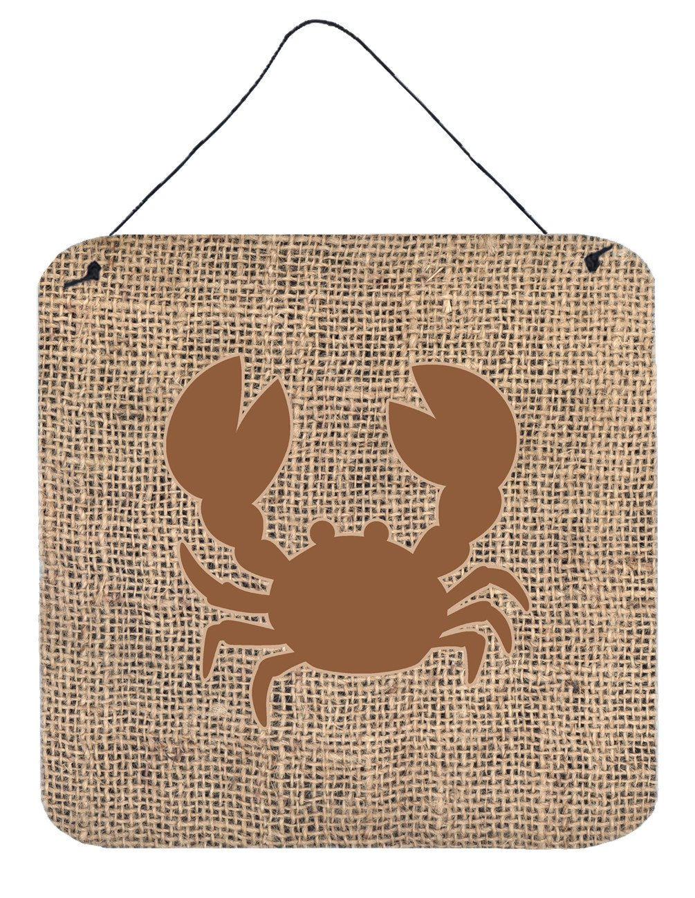 Crab Burlap and Brown Aluminium Metal Wall or Door Hanging Prints BB1104 by Caroline's Treasures