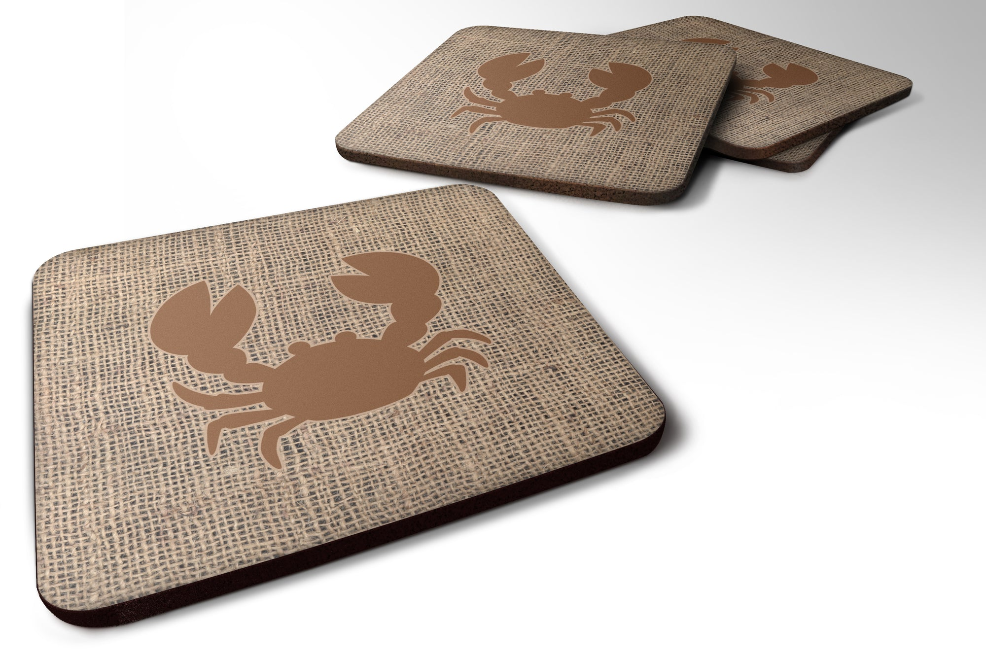 Set of 4 Crab Burlap and Brown Foam Coasters by Caroline's Treasures
