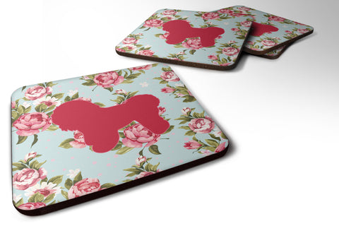 Buy this Set of 4 Bichon Frise Shabby Chic Blue Roses Foam Coasters